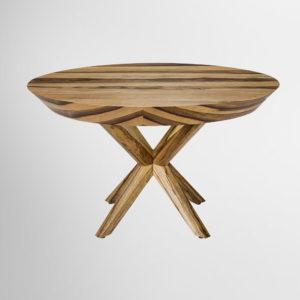 שולחן לפינת אוכל דגם רוסיני עגול אגוז אפריקאי כהן רהיטים