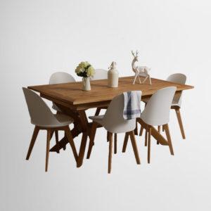 פינת אוכל מעץ אלון מבוקע כהן רהיטים