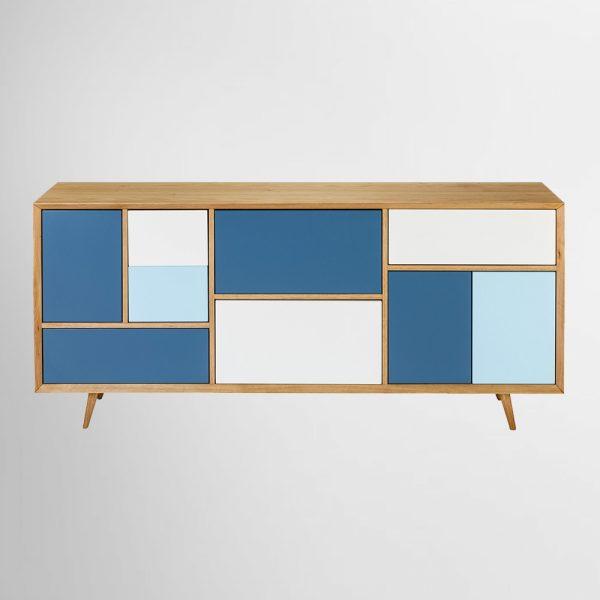 מזנון כחול ולבן ריבועים כהן רהיטים